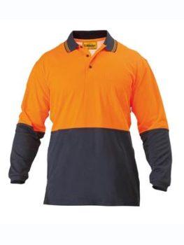 Bisley 2 Tone Hi Vis Polo Shirt Long Sleeve - Orange