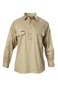 Hard Yakka Cotton Drill Closed Front Work Shirt Long Sleeve - Khaki