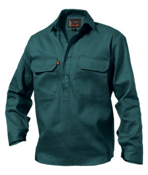 King Gee LS Closed Front Drill Shirt - Bottle Green