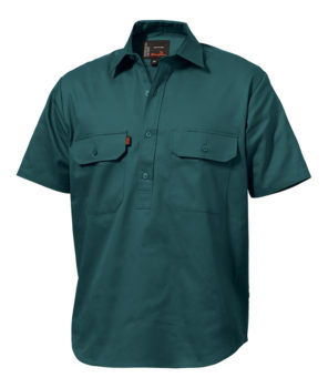 King Gee SS Closed Front Drill Shirt - Bottle Green