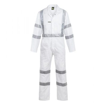 Hi Vis Cotton Drill Coverall With CSR Reflective Tape - Night Use Only-WC3254