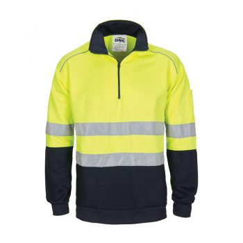 DNC Workwear HiVis 1/2 Zip Fleecy with Hoop Pattern CSR Reflective Tape Product Code: 3729