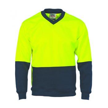 DNC Workwear HiVis Two Tone Fleecy Sweat Shirt (Sloppy Joe) V-Neck Product Code: 3822