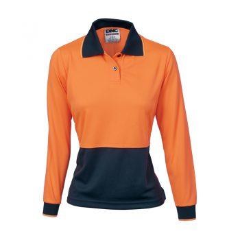 Ladies HiVis Two Tone Polo Shirt - Long Sleeve