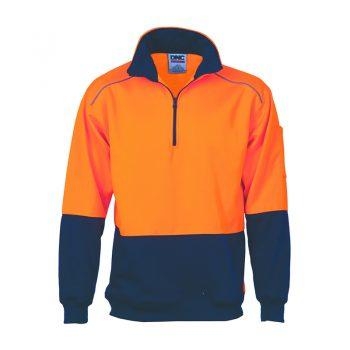 DNC Workwear HiVis Two Tone 1/2 Zip Reflective Piping Sweat Shirt