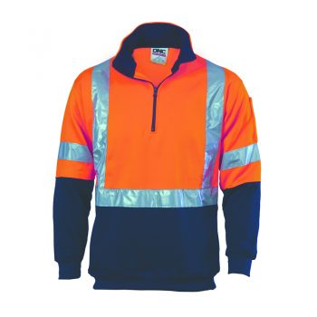 DNC Workwear HiVis 1/2 Zip Fleecy with 'X' Back & additional Tape on Tail Product Code: 3930